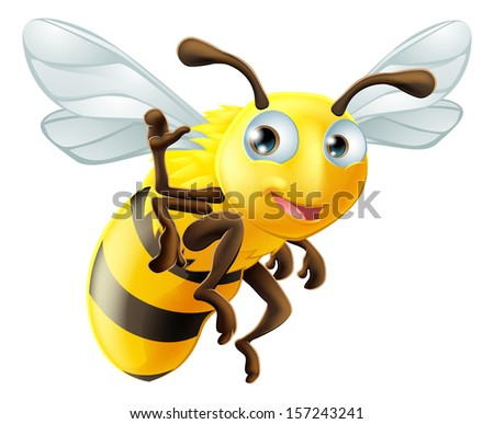 A cute cartoon bee waving