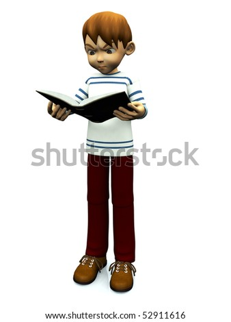 A cute cartoon boy looking angry when reading a book he is holding in his hands. White background.
