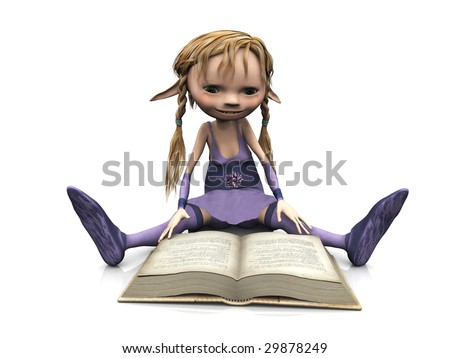 stock photo : A cute cartoon elf girl with blonde hair sitting on the floor