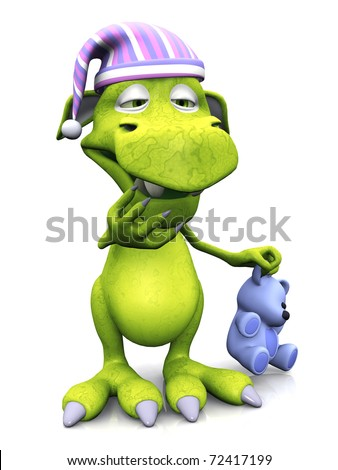 A cute cartoon monster wearing a nightcap and holding a teddy. He is yawning because he is tired. The monster is green. White background.
