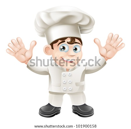 A cute chef mascot character in chef hat and chef uniform
