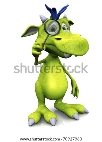 A cute friendly cartoon monster holding a magnifying glass in front of one of his eyes. The monster is green with blue hair. White background. - stock photo