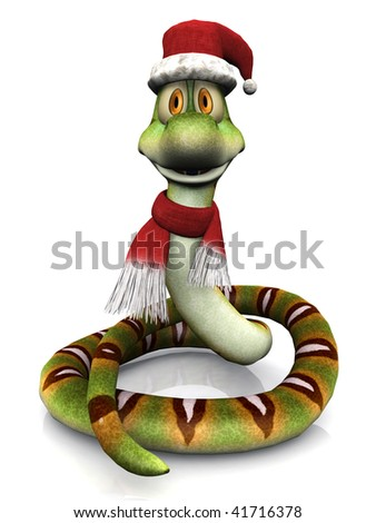 A cute, friendly cartoon snake wearing a Santa hat and a christmas scarf. White  background.