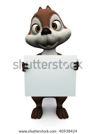 A cute, friendly cartoon squirrel holding a blank sign, white background.