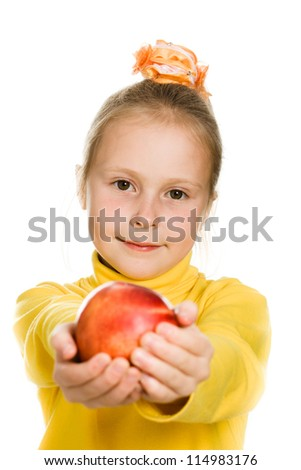 A cute girl with an apple in his hand on a white background.