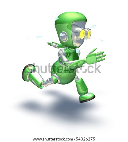 A cute green glossy shiny silver metallic robot character exerting himself by running very hard and fast. He is sweating with perspiration flying off in drops.