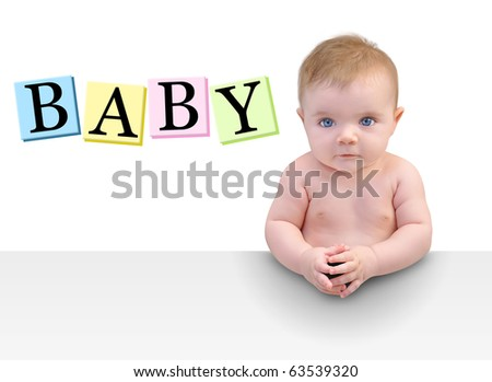 A cute little baby boy or girl is sitting seriously at a table with their hands folded. There is copyspace to add your message on a white background. Use it for a parenting or education concept.