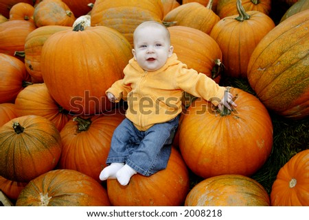 A cute little baby girl poses in a pumpkin patch