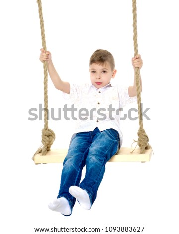 A cute little boy swinging on a swing. The concept of a happy childhood, healthy lifestyle. Isolated on white background.
