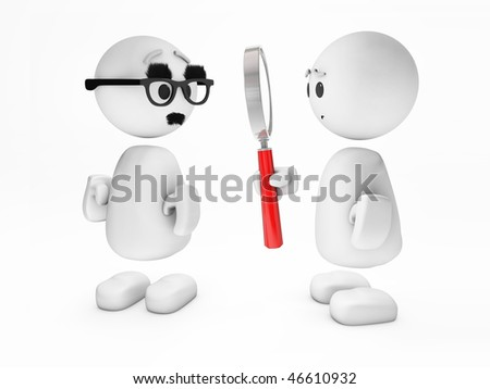 "a cute little 3D guy ""happyman"" inspects a suspicious person (3D happyman isolated series)"