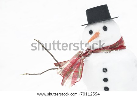 A cute little snowman with a smiling face in the snow, horizontal with lots of copy space