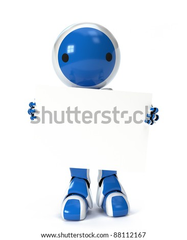 A cute robot holding a blank sign over his body, ready for your text or design.