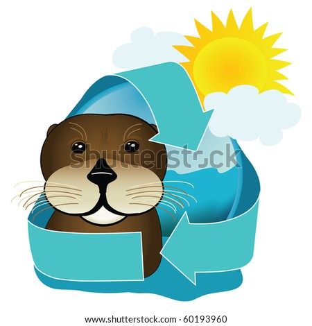 A cute sea otter icon encompasses the recycling arrows. Great image for environmentally friendly sea tours