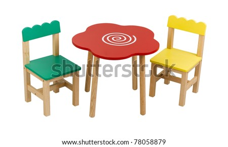 A cute set of desk and chairs for child