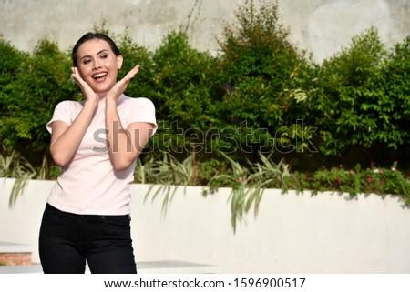 A Cute  Surprised Adult Female