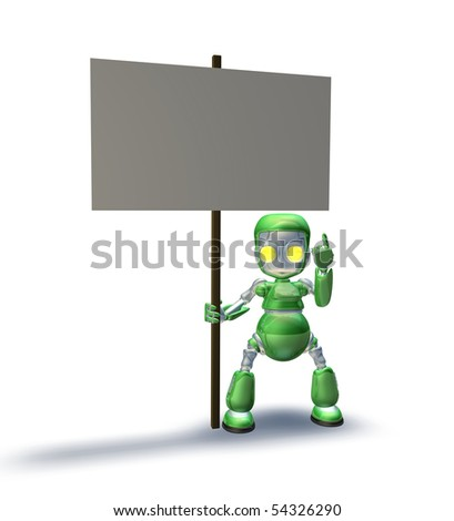 A cute sweet metal robot mascot character pointing up to a placard sign he is holding