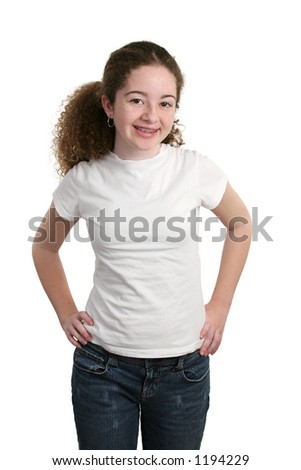 A cute teen girl modeling a white t-shirt, blank and ready for a logo. - stock photo