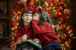 A cute twin sister in red sweaters reading a book and telling secrets next to a Christmas tree in a decorated room. Children and New Year