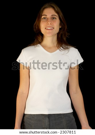 blank white t shirt back. stock photo : A cute woman modeling a white t-shirt, lank and ready