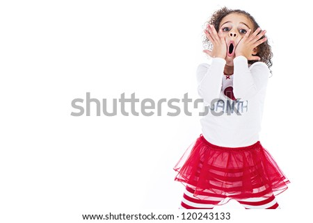 A cute young girl expressing shock and surprise with her comical expression.