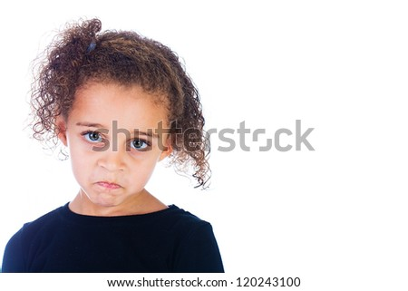 A cute young girl with a sad frown on her face
