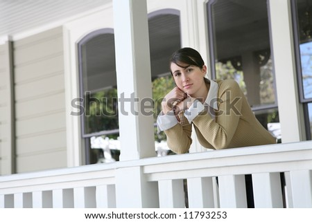 A cute young teenage woman resting at home