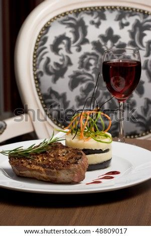 A cutlet meat and Mashed Potato, selective focus on meat.