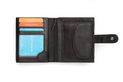 A cutout of an opened black leather wallet with latch showing sample cards.