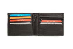 A cutout of an opened black leather wallet with six card holders.