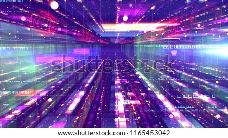 A cutting edge 3d illustration of a shimmering space structure from sparkling multicolored structures and a gap between them resembling a time tunnel with UFOs it in the violet universe.