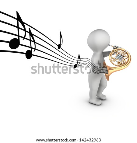 A 3D character playing french horn (corniste) with notes on a partition. The french horn is a wind instrument.