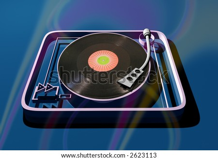 a 3d computer generated turntable with a real record composited onto it