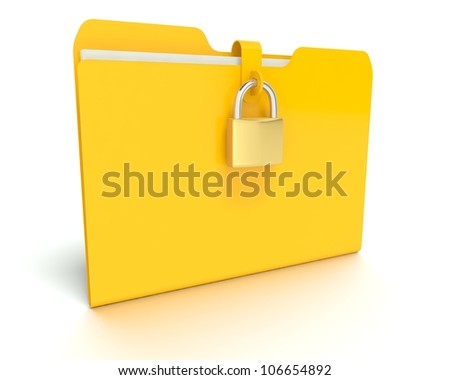 A 3d concept graphic depicting a folder/file security concept. Rendered against a white background with a  soft shadow and reflection to enhance the 3D.