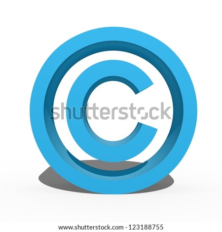 A 3d copyright symbol isolated against a white background