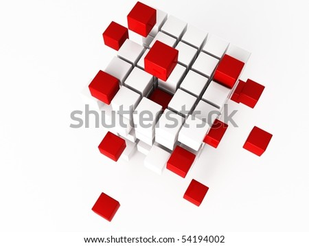 a 3d cube on a shite background