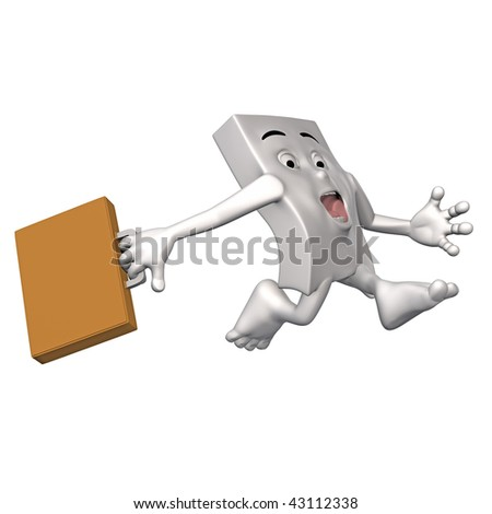 A 3d figure in a hurry - stock photo