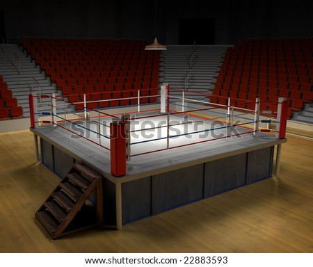 A 3D generated professional boxing ring front ropes removed Easly place objects