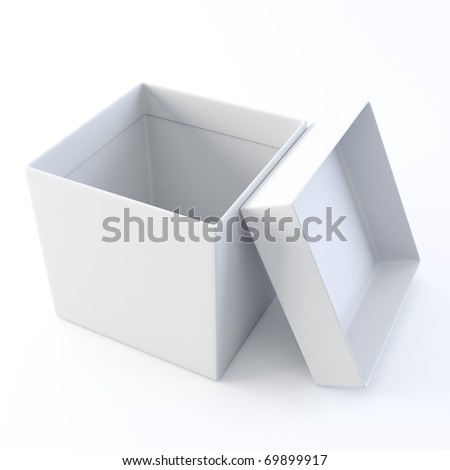 A 3D illustration blank template layout of white open empty box.