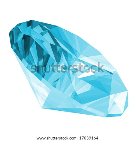 3d illustration of a aquamarine gem isolated on a white background