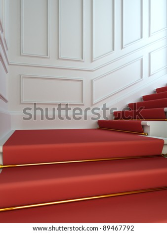 A 3D illustration of a classical staircase with a red carpet.
