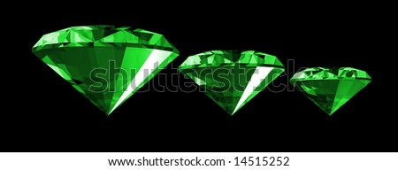 A 3d illustration of a emerald gem isolated on a black background.