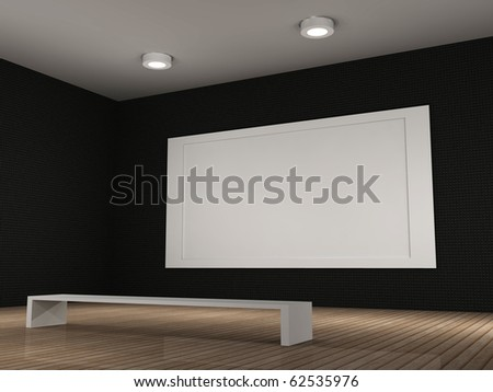 a 3d illustration of a empty museum room with frame