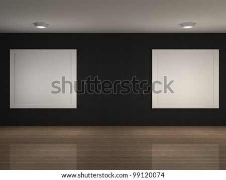 a 3d illustration of a empty museum with frames