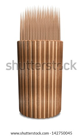 A 3d illustration of a group of toothpicks in a wooden container / Toothpicks in container
