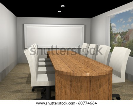 a 3d illustration of a meeting room