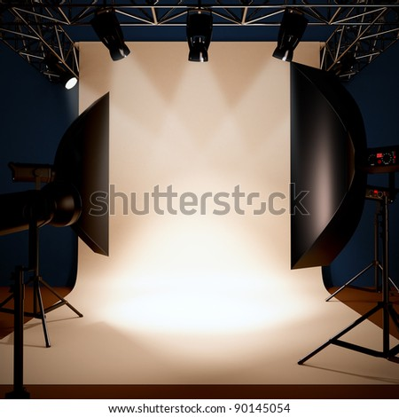 A 3d illustration of a photo studio background template.