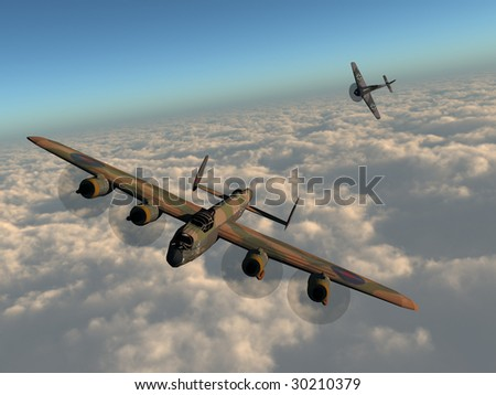 A 3d illustration of an old WWII bomber being pursued by a fighter plane.