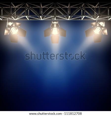 A 3d illustration of backstage spotlights.