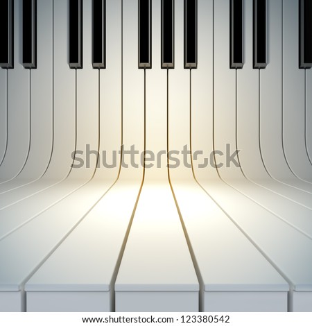 A 3D illustration of blank surface from piano keys Blank template layout of music placard
