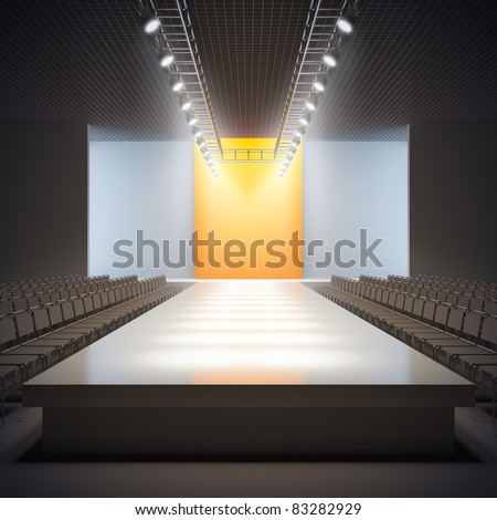 A 3D illustration of fashion empty runway.